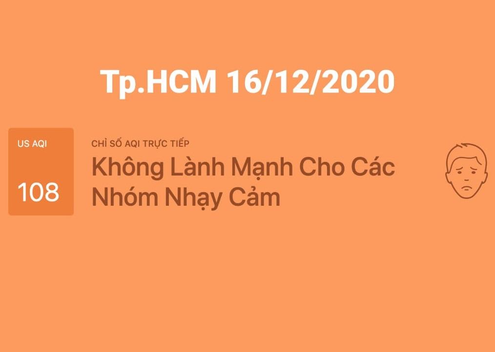 Tình trạng chất lượng không khí tháng 12-2020 tại Tp.HCM